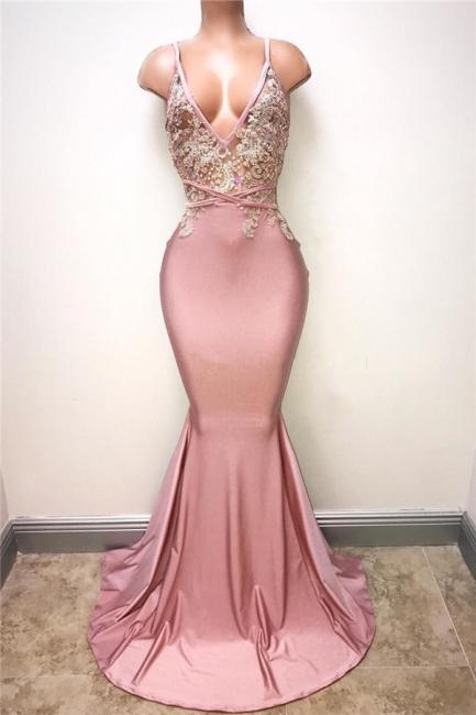 V-neck Pink Evening Dress Straps Beads Appliques Mermaid Sexy Prom Dress  MQ0