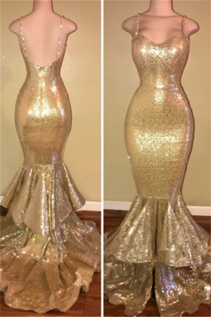 Spaghetti Straps Mermaid Sequins Prom Dress Champagne Gold Tiered Ruffles Sexy  Evening Gown BA7627