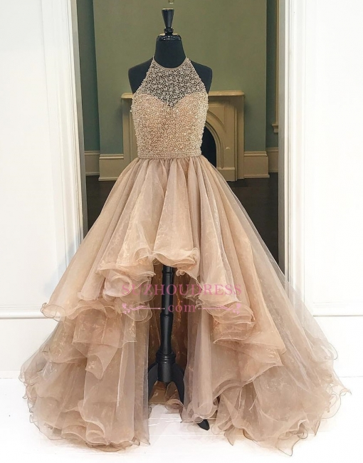 Brilliant Hi-Lo Tulle Halter Low Beading A-Line Evening Dresses