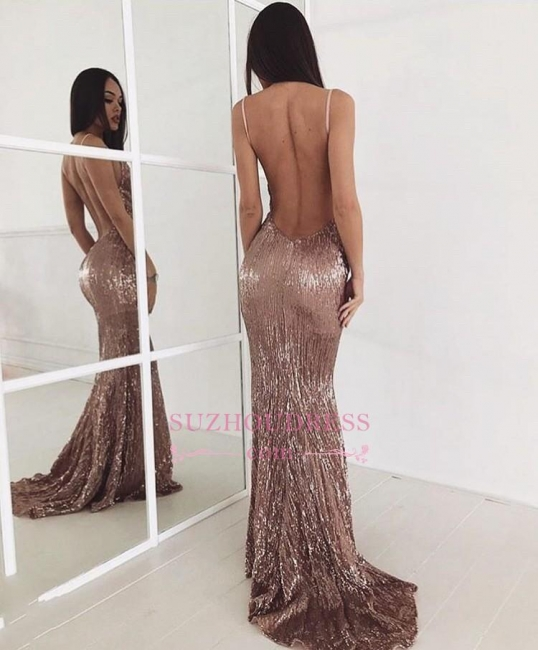 Backless Sweep Train  Evening Dress Beading Sequin Sexy New Arrival Prom Dress BA6095