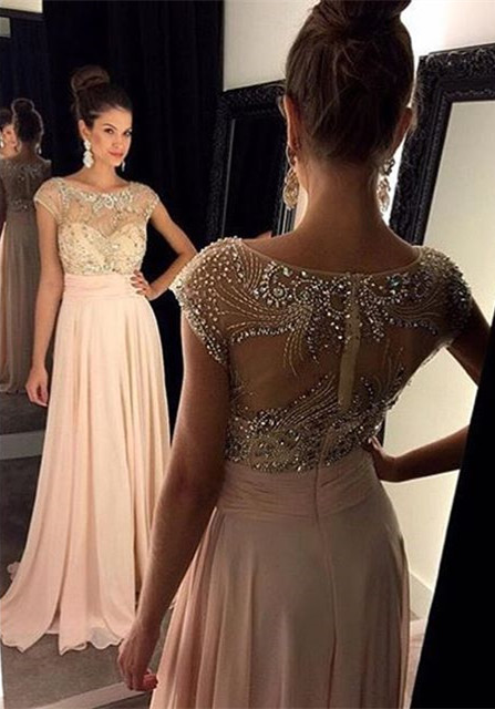 Gorgeous Empire Pink Beading Prom Dress Latest Zipper Chiffon  Formal Occasion Dresses