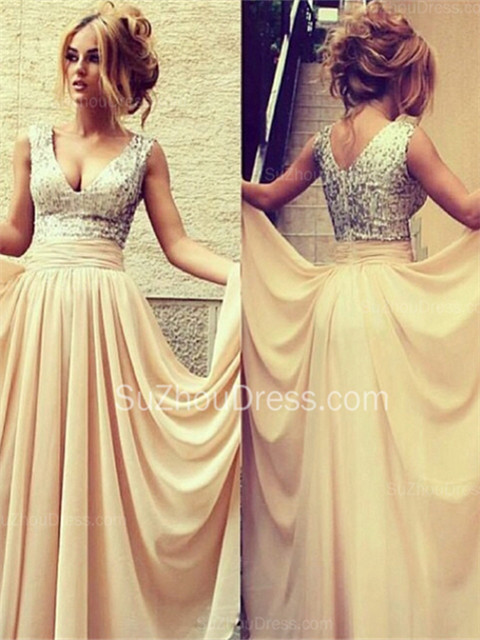 Sexy V-Neck  Prom Dresses Sequined Choffpn Long  Evening Gowns