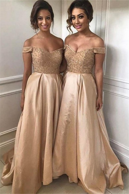 Off The Shoulder Bridesmaid Dresses  Champagne Gold Sequins Dress for Maid of Honor BA8374