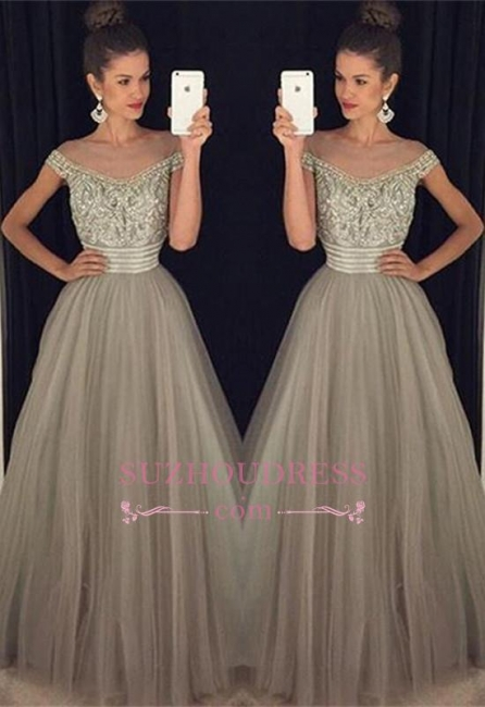 Beadings Crystal  Evening Gowns A-Line Glamorous Tulle Long Prom Dress BA7619