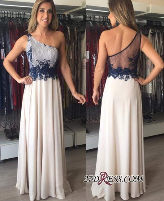 Chiffon Applique One-Shoulder Floor-Length Sleeveless Elegant Prom Dresses