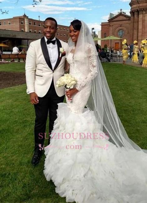 Lace-Appliques Long-Train Delicate Mermaid Ruffles Wedding Dress