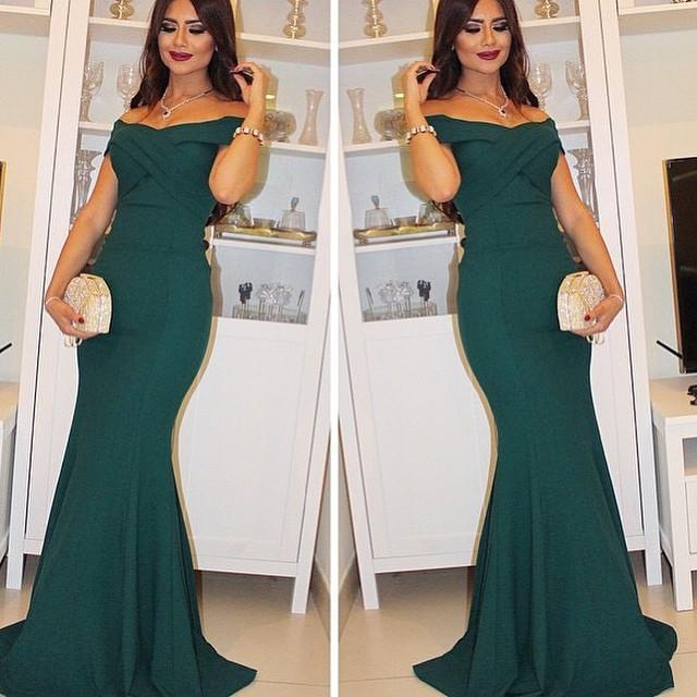 Dark Green Off the Shoulder Mermaid Formal Occasion Dress Short Sleeve Ruched Long Evening Gown