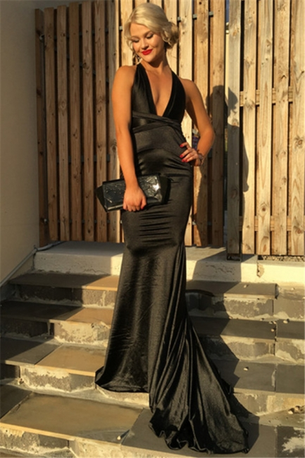 Black Deep V-neck Sexy Formal Dress   Sleeveless Sheath Open Back Prom Dress