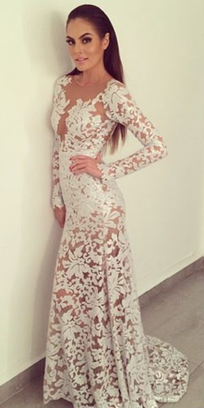 Sexy Long Sleeve Mermaid Lace Evening Gown Scoop Open Back  Party Dresses