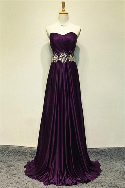 A-line Elegant Purple Sweetheart Crystal Prom Dress Sweep Train Zipper Long Evening Gown With Beadings
