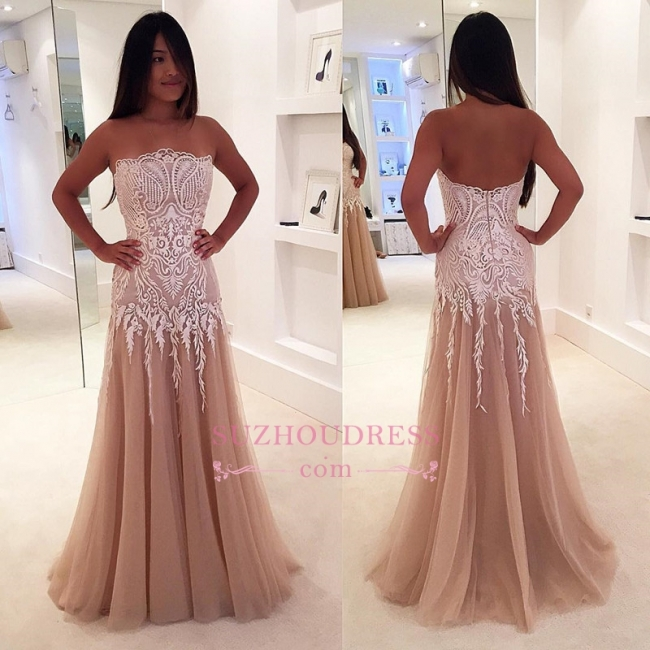 Strapless A-line Prom Dress | Sleeveless Lace Evening Gowns