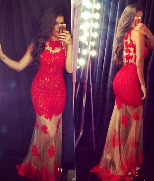 Sexy Mermaid Red Lace Long Evening Dress Popular Fitted Tulle Floor Length Special Occasion Dresses