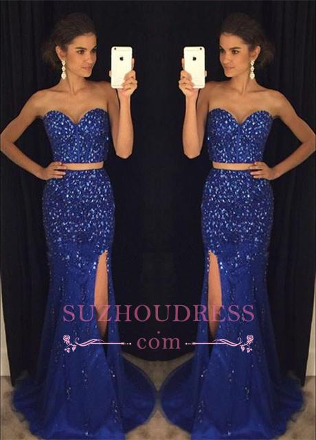 Two-Pieces Split Sweetheart Mermaid Gorgeous Beadings Prom Dress