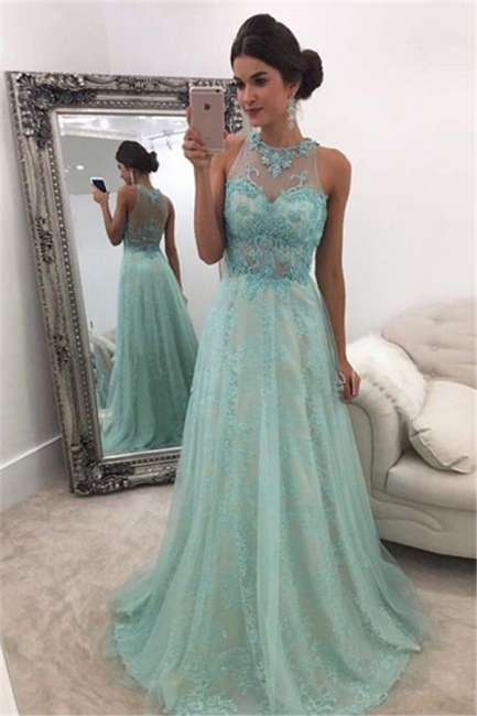 Glamorous A-line Sleeveless Lace Evening Dresses  Floor Length Prom Dresses