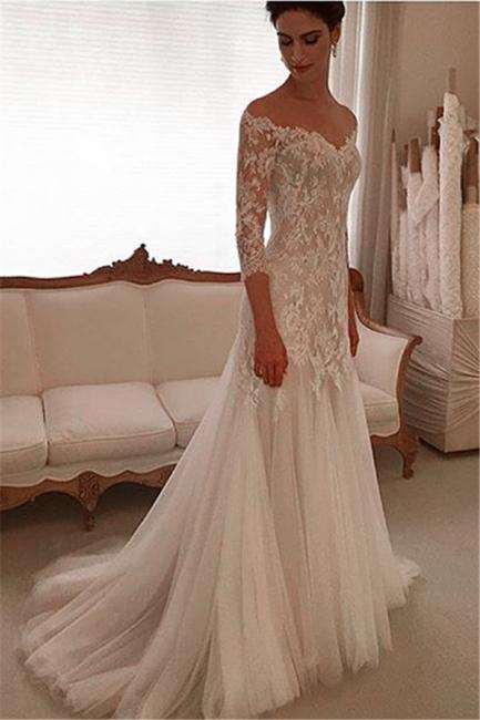 Elegant V-neck Lace Wedding Dresses  3/4 Sleeves Tulle Sheath Wedding Gown