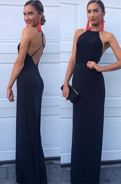 Black Prom Dresses High Neck A Line Floor Length Backless Satin Elegant Evening Gowns