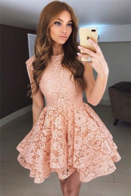 Coral Lace Tiered Short Homecoming Dresses Online  Sleeveless  Hoco Dresses