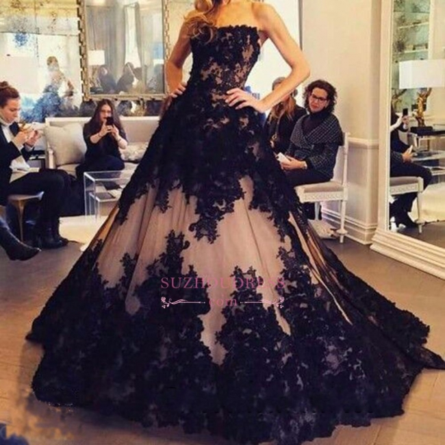 Lace Tulle Black New  Prom Dress Strapless Sleeveless Ball-Gown Evening Dresses BA2372