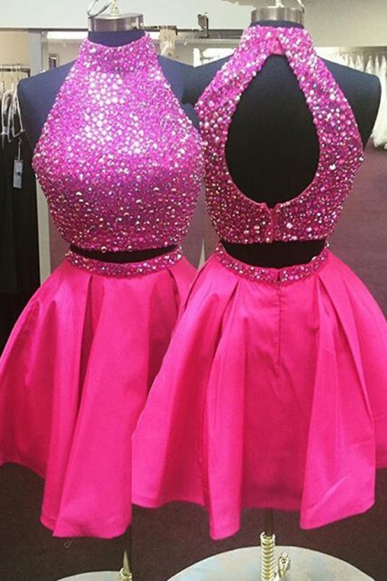 High Collar Two Piece Homecoming Dresses with Beading Latest Open Back Short Cocktail Gowns
