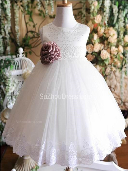Cute Flower Girl Dresses Jewel Sequined Appliques Brown Flower Ruffle Lovely White  Tulle Pageant Dress
