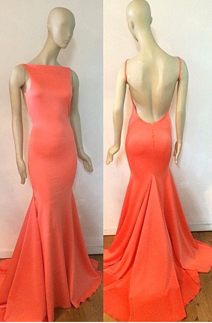 Fishtail Open Back Orange  Evening Dresses with Long Train  Sexy Custom Made Prom Dresses