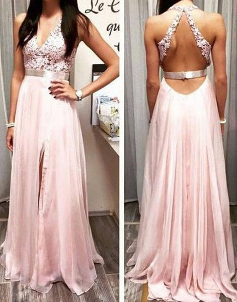 Elegant Sexy  Prom Dress Online V-neck Long Chiffon Popular Evening Gowns Party Dresses