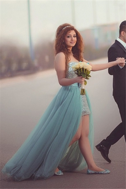 Silver Sequins Overskirt Prom Dress Sweetheart Tulle Evening Gowns