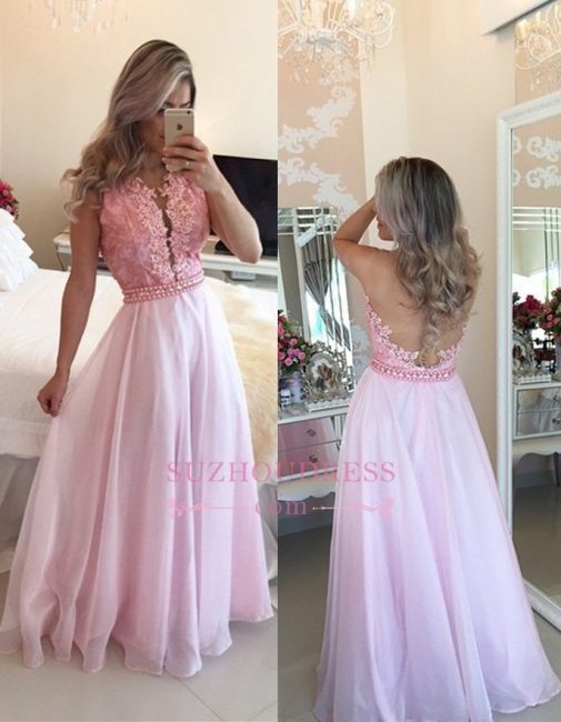 Sexy Pink Appliques A-Line Crystal Sheer-Tulle Prom Dresses