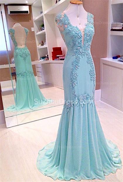 Straps Mermaid Chiffon Prom Dresses  Applique Sweep Train Sleeveless Evening Dresses