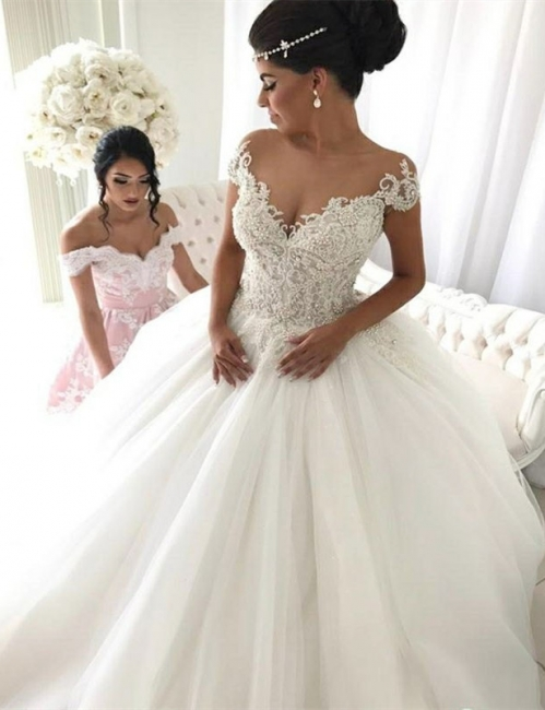 Stylish Ivory Off-the-shoulder Wedding Dresses Lace Bridal Gowns On Sale