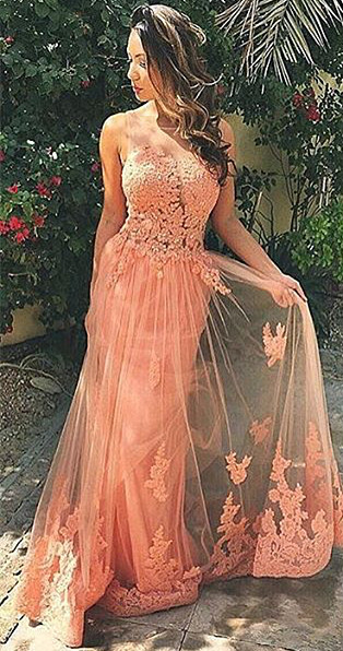 Coral Lace Tulle  Prom Dresses Open Back Sleeveless Sheath Evening Gown BA6820