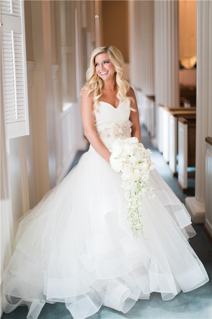 Ruffled Organza Wedding Dresses  Sweetheart Bridal Gowns with Beads Flowers