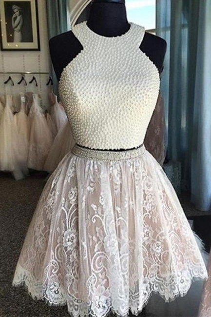 Two Piece Beaded Homecoming Dress  Lace Skirt Sleeveless  Evening Dresses