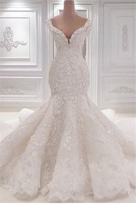 Glamorous V-Neck Lace Wedding Dresses Mermaid Vintage Bridal Gowns Online