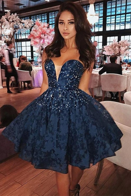 Puffy Dark Navy Lace Sweetheart Homecoming Dresses |  Short Beadings Hoco Dresses