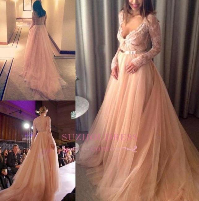 Long-Sleeve Lace Tulle Beautiful Long V-Neck Evening Dress