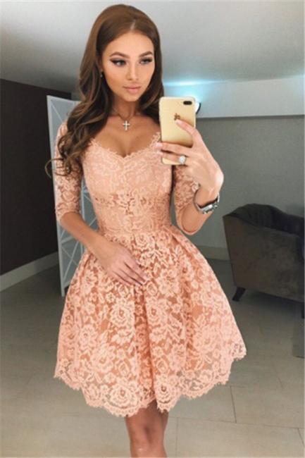 V-neck Half Sleeves Homecoming Dresses   Short Lace Hoco Dress Online BA6953
