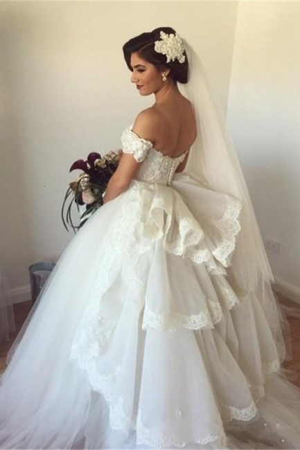 Off-the-shoulder Wedding Dress Puffy Tulle Ball Gown Bridal Dress with Lace