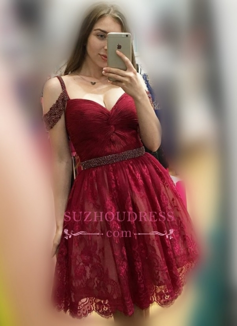 A-line Sexy Lace Burgundy Off-the-Shoulder Bead Homecoming Dresses