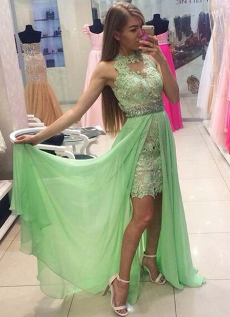 Halter Mint Green Chiffon  Prom Dresses Gorgeous Lace Baeding Evening Gowns