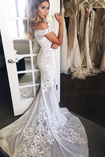 Off The Shoulder Sheer Tulle Bride Dress  Lace Appliques Mermaid Buttons Wedding Dress