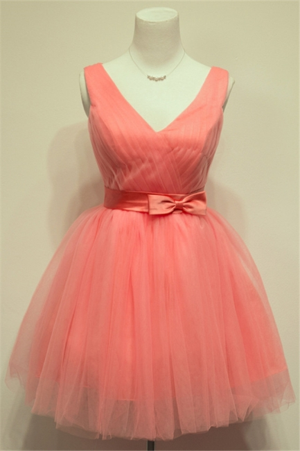 Cute Watermelon V-Neck Mini Homecoming Dress with Bowknot Lace-up Tiered Ruffle Short Bridesmaid Dresses