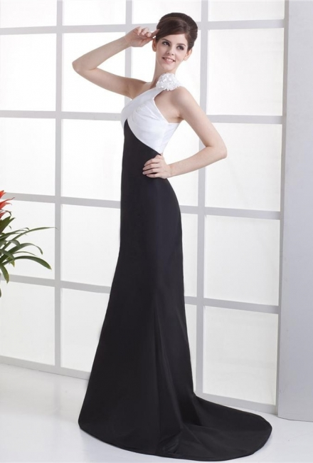 White And Black Prom Dresses  One Shoulder Sleeveless Mermaid Sweep Train Satin Flower  Evening Gowns