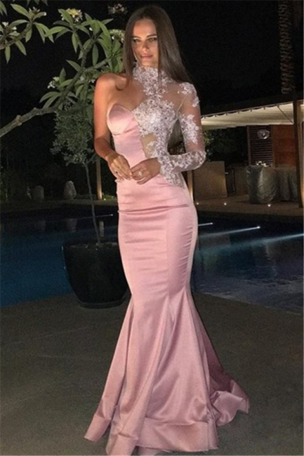 High Neck One Sleeve Prom Dress  Pink Mermaid Lace Appliques Evening Gown BA6638