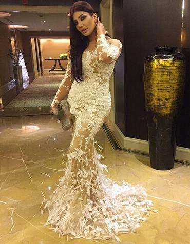 Long Sleeve Sexy Mermaid Party Dresses White Lace Applique  Evening Gowns AE0129