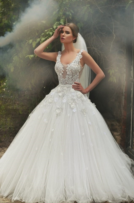 White Tulle Lace Beading Ball Gown Wedding Dresses Floor Length Popular Custom Made Bridal Gowns