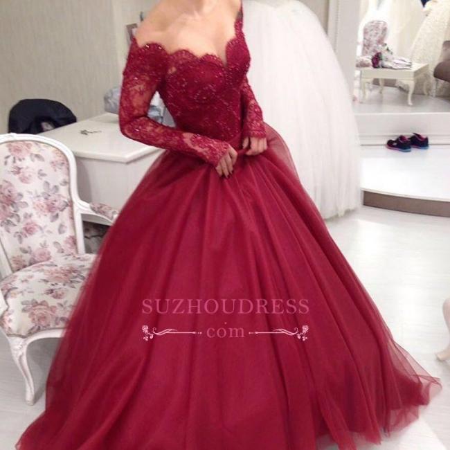 Princess Long-Sleeves Elegant Tulle V-neck Ball-Gown Lace Off-the-shoulder Evening Dresses BA6059