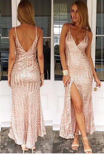 Spaghetti Straps Sexy V-neck Evening Dress Sequins Open Back Prom Dress with Split BA3044