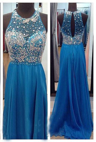 Ocean Blue Halter Sparkly  Chiffon Prom Dresses with Sheer Back Crystal Popular Long Evening Dresses