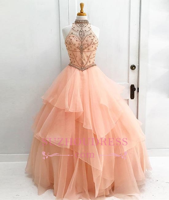 New Arrival Elegant Ball High Neck Sleeveless Gown Evening Dresses with Beading